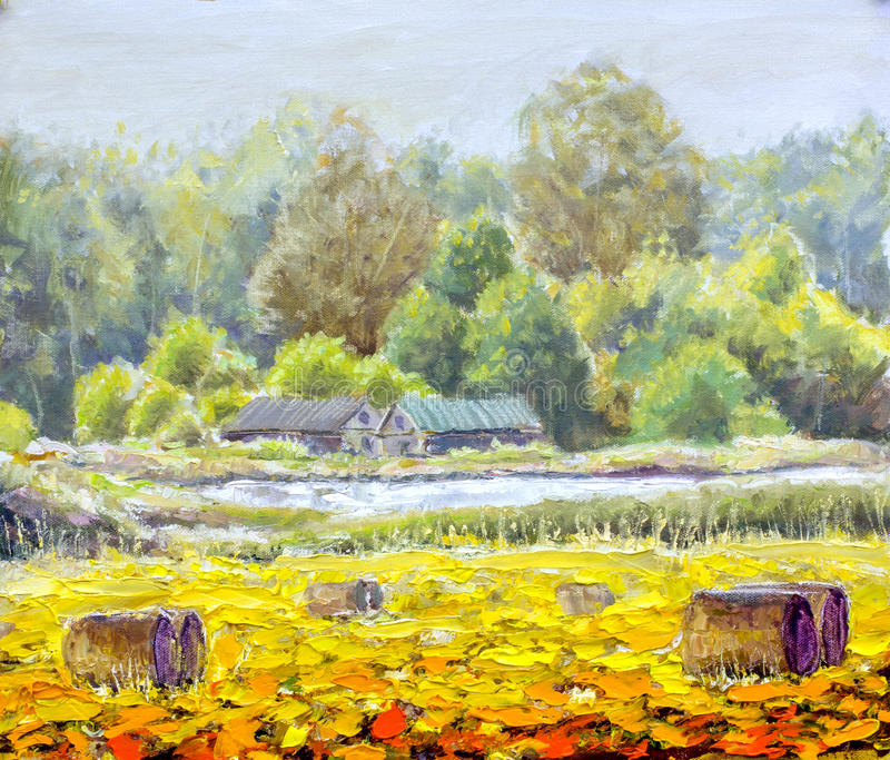 Первоначально жизнь картины маслом в сельской местности на холсте Красивый сельский ландшафт, деревня, 2 дома, поле - современное стоковое фото rf