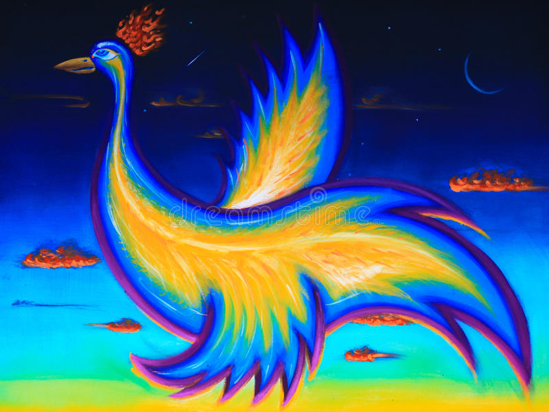 Первоначально искусство, акриловая картина птицы Феникса, летание в ночном небе стоковые фото