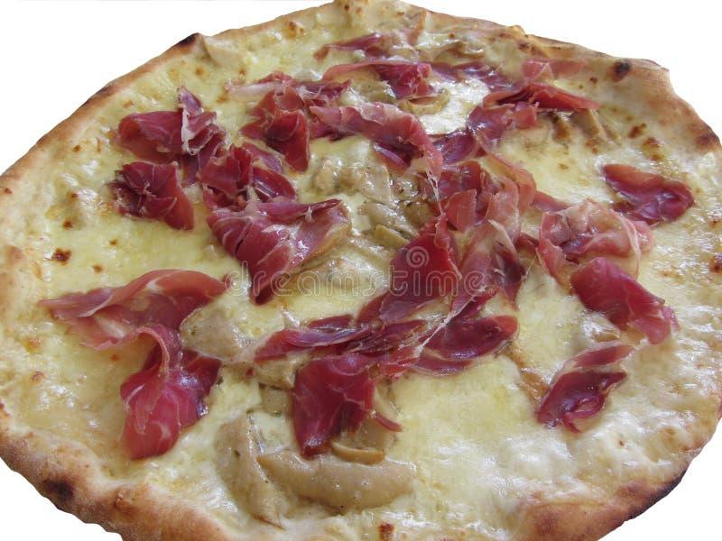 Первоначально итальянская пицца при ветчина, грибы и моццарелла изолированные на белой предпосылке стоковые изображения rf