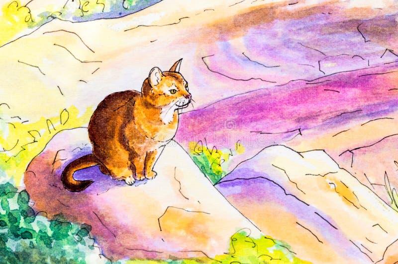 Первоначально картина абиссинского кота иллюстрация вектора