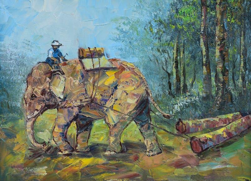 Первоначально картина маслом на холсте - слонах для того чтобы волочить журналы иллюстрация штока