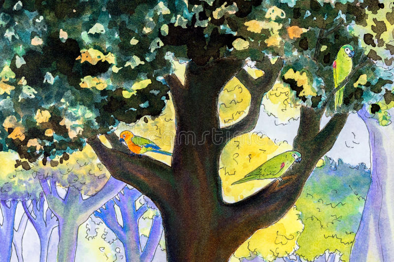 Первоначально картина 3 попугаев в дереве иллюстрация вектора