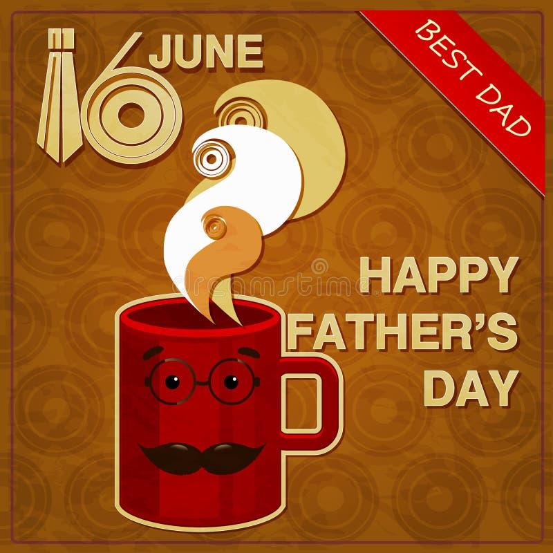 Первоначально поздравительная открытка на день отцов иллюстрация штока