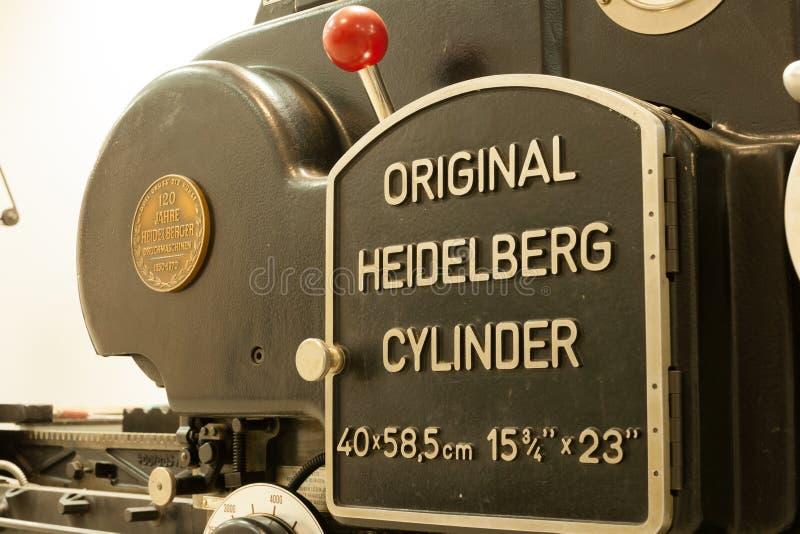 Первоначально цилиндр Гейдельберга стоковое фото