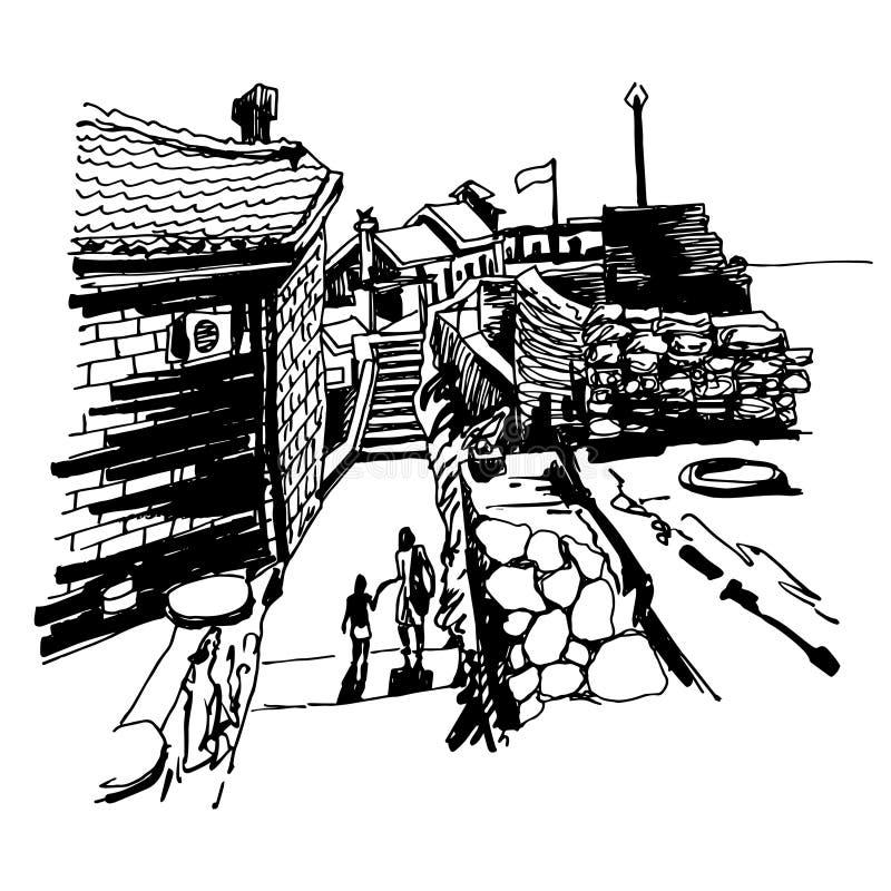 Первоначально черно-белый чертеж эскиза чернил старого форта бесплатная иллюстрация