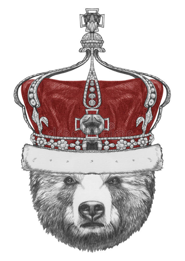 Первоначально чертеж медведя с кроной иллюстрация штока