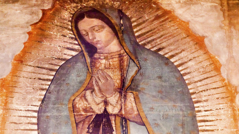 Первоначально Mary Guadalupe крася новую святыню Мехико базилики мексиканський стоковое изображение