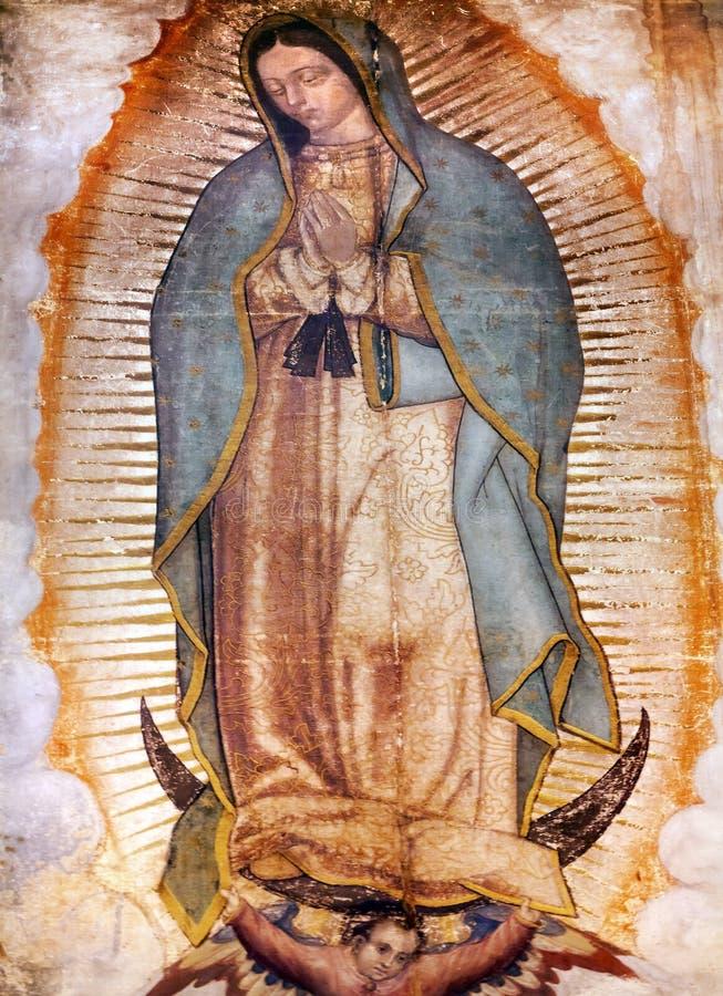 Первоначально Mary Guadalupe крася новую святыню Мехико базилики мексиканський стоковые изображения rf