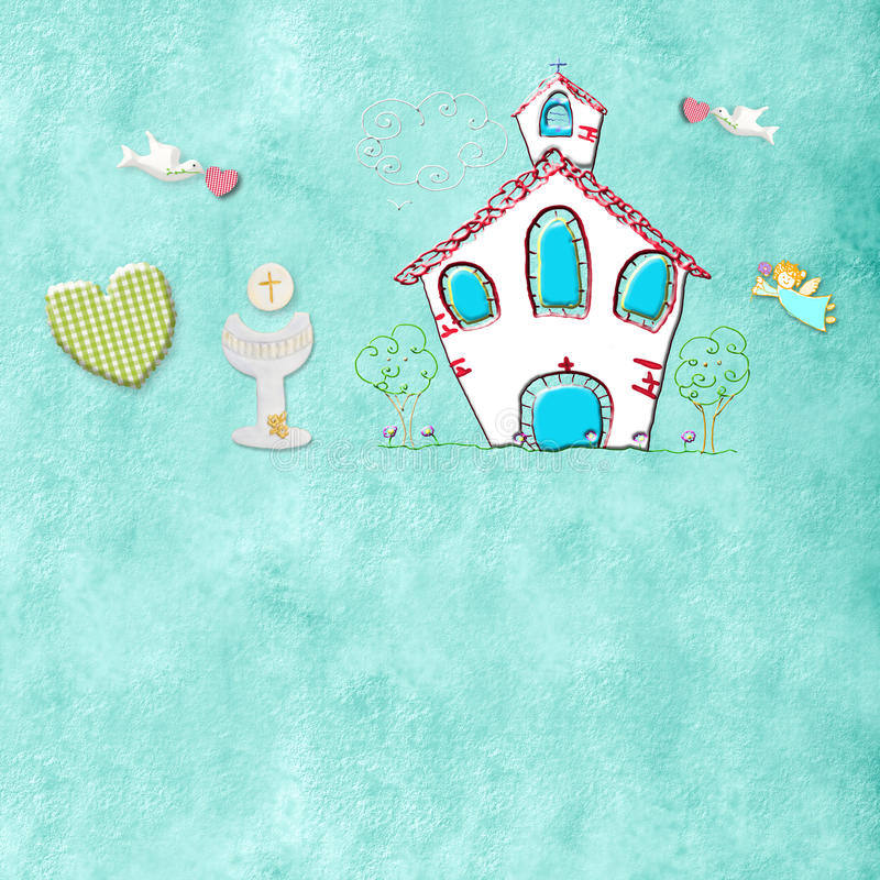 Первые карточки общности или крещения иллюстрация вектора