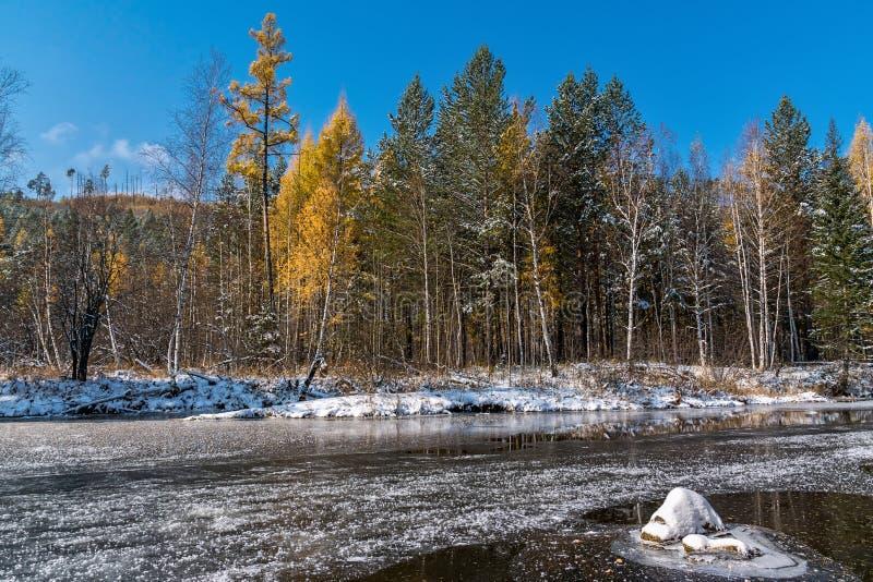 Первый лед на реке Olkha стоковая фотография rf
