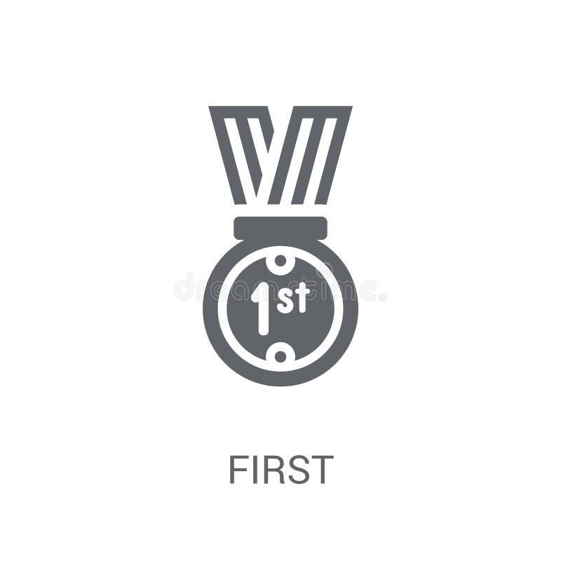 Первый значок Ультрамодная первая концепция логотипа на белой предпосылке от s иллюстрация штока