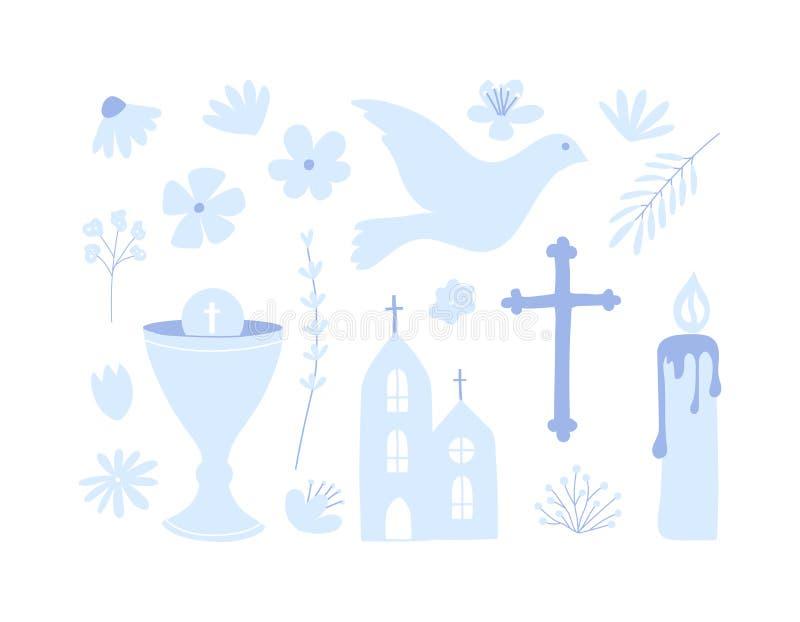 Первый набор святого причастия значка Иллюстрация христианства бесплатная иллюстрация