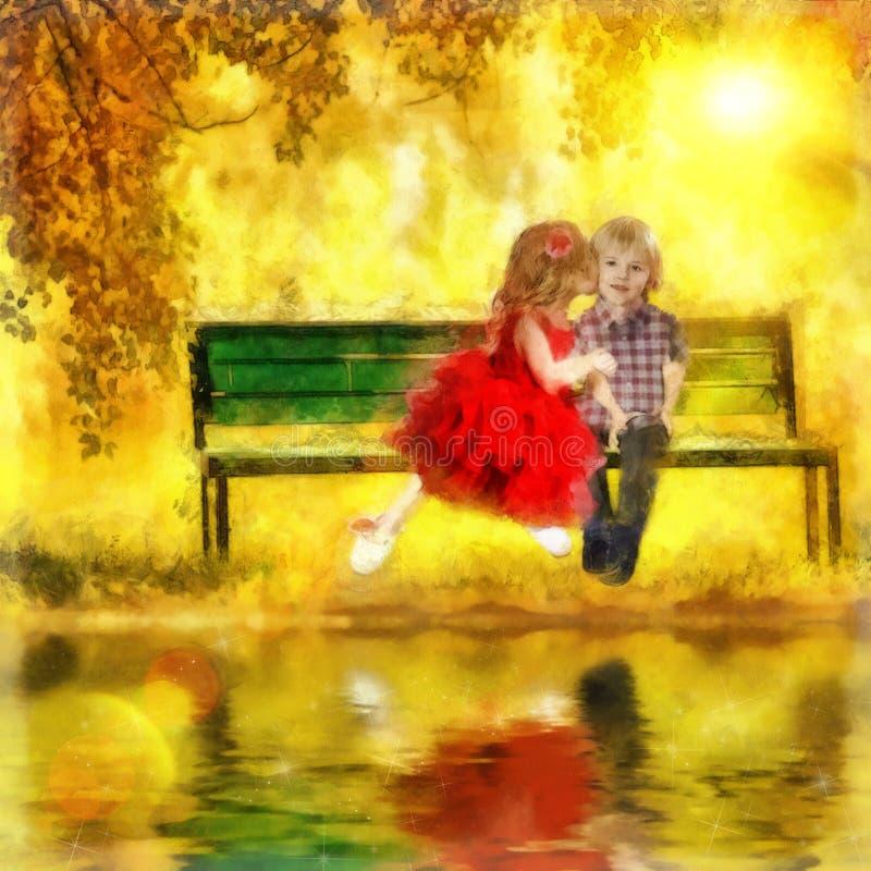 первый поцелуй иллюстрация штока