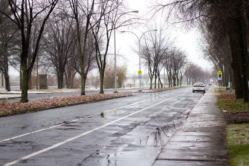 Первый снег зимы в Qc Канаде Sorel-Трейси стоковое изображение