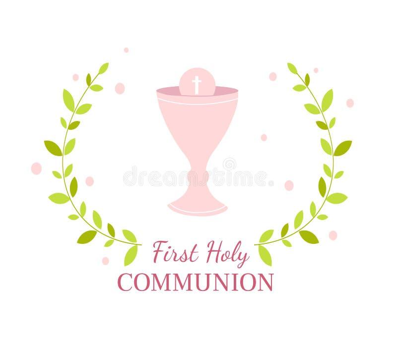 Первый шаблон дизайна поздравительной открытки святого причастия иллюстрация штока