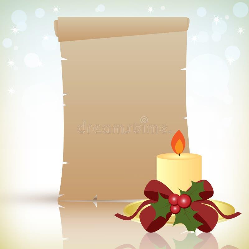 Пергамент рождества с свечкой иллюстрация вектора