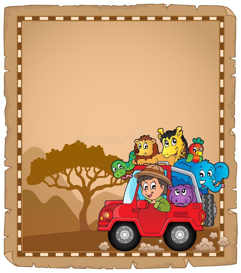 Пергамент с автомобилем и путешественником 2 бесплатная иллюстрация