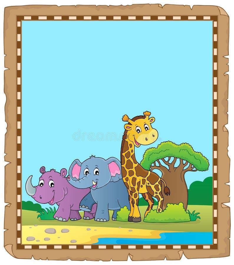 Пергамент с африканскими животными 4 иллюстрация штока
