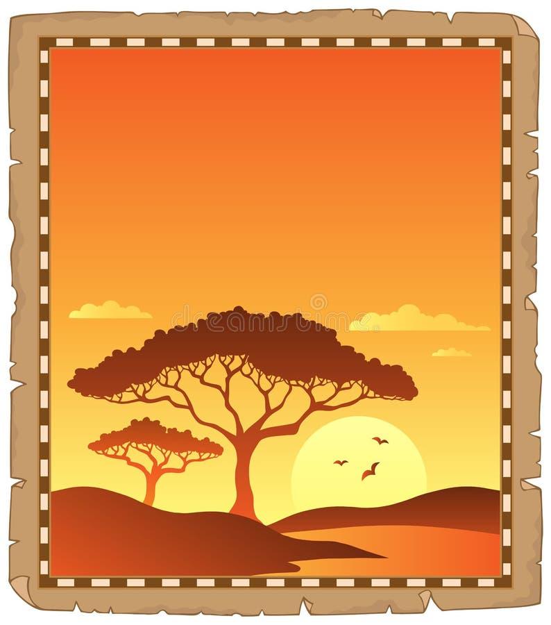 Пергамент с пейзажем захода солнца саванны иллюстрация вектора