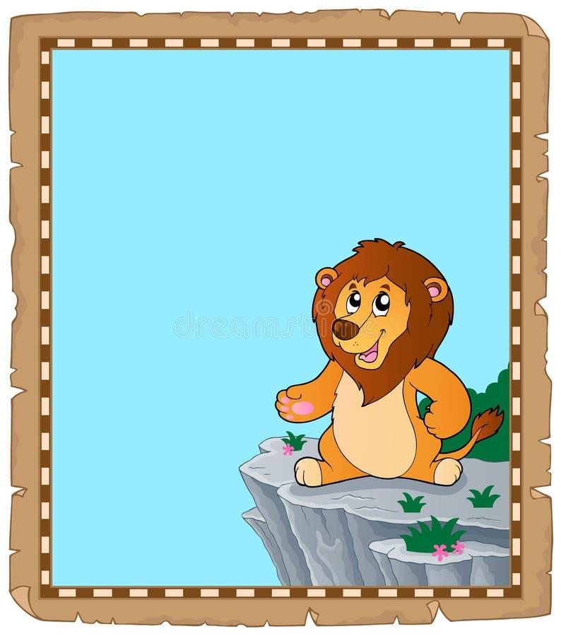 Пергамент 2 темы льва иллюстрация вектора
