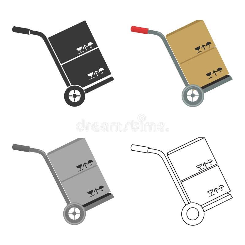 Перевезите на грузовиках с значком коробок иллюстрации вектора для сети и черни иллюстрация вектора