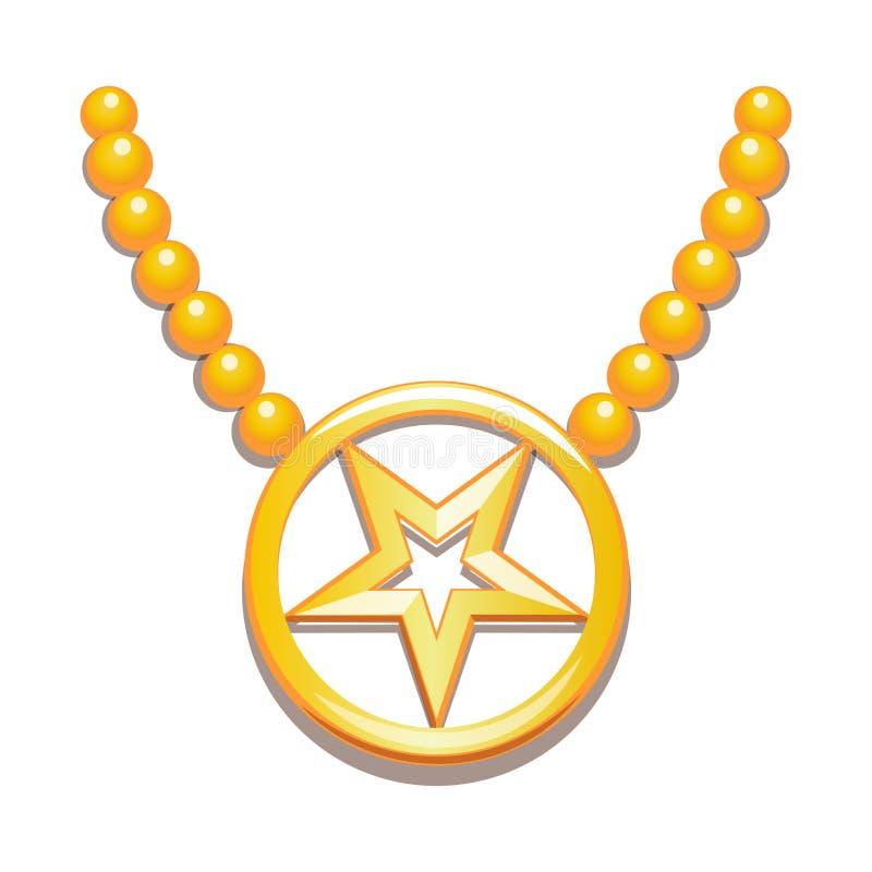 Перевернутая 5-остроконечная звезда золота внутри круга иллюстрация вектора