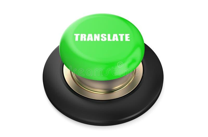 Переведите зеленую кнопку иллюстрация штока