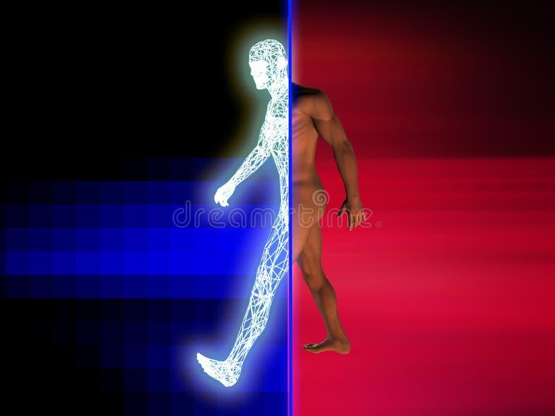 переводить человека в цифровую форму иллюстрация штока