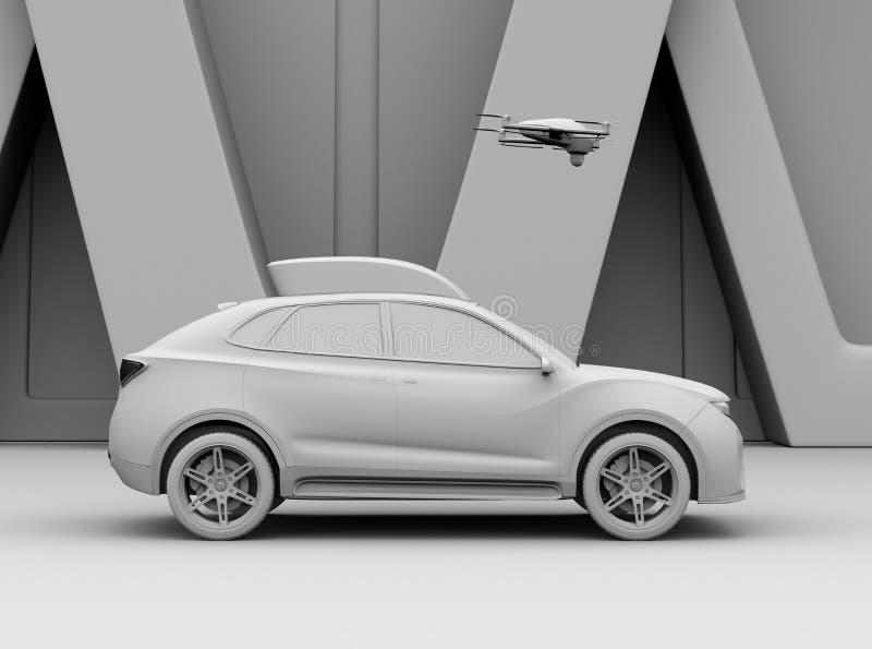 Перевод глины электрического SUV выпустил трутня для развлечений отдыха иллюстрация штока