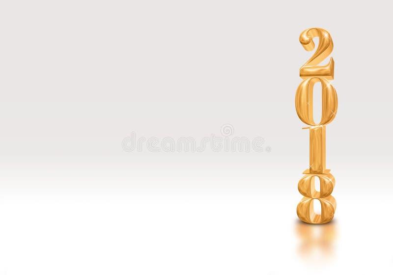 2018 перевод золотого числа 3d Нового Года лоснистый на белой студии бесплатная иллюстрация