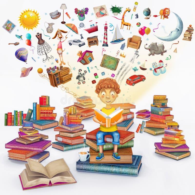 Перевод иллюстрации меньшего молодого мальчика имбиря читая книгу иллюстрация вектора
