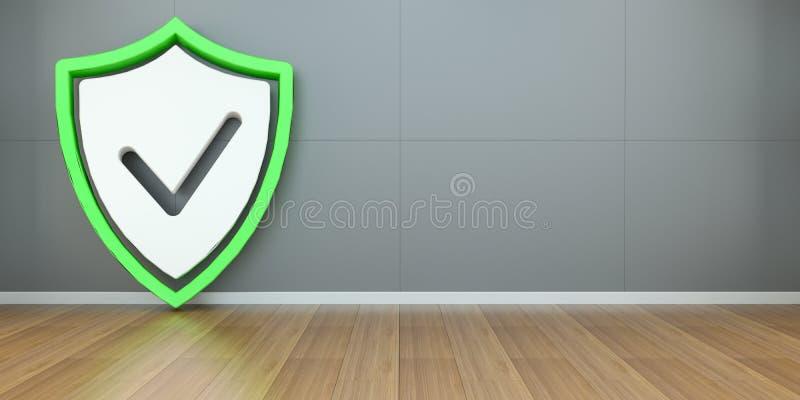 Перевод интерфейса 3D безопасностью экрана Smarthome иллюстрация вектора