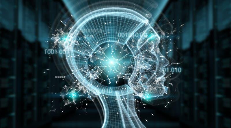 Перевод интерфейса 3D киборга искусственного интеллекта цифров иллюстрация вектора