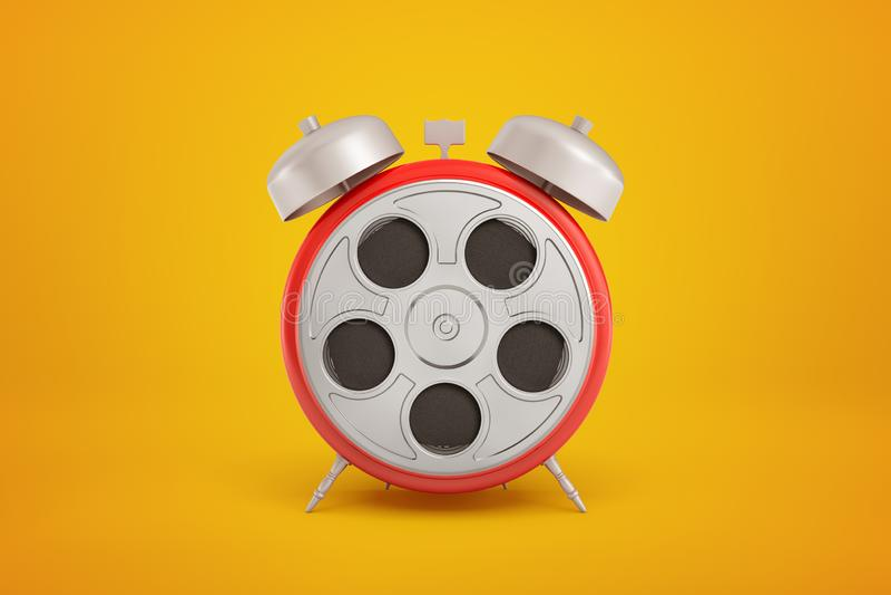 перевод конца-вверх 3d красного круглого будильника с серебр-серым ретро вьюрком фильма вместо циферблата на янтаре стоковые изображения