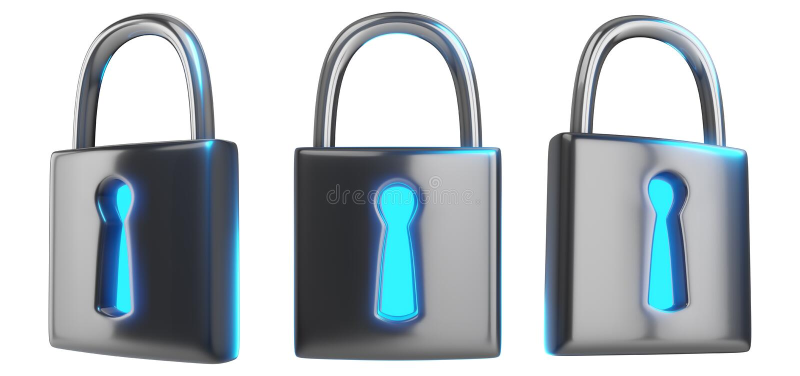 Перевод концепции 3d технологии Cybersecurity набора я иллюстрация вектора