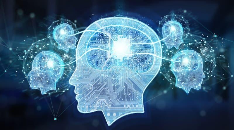 Перевод предпосылки 3D мозга искусственного интеллекта цифровой иллюстрация штока
