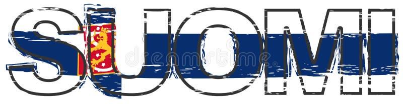 Перевод слова SUOMI финский Финляндии с национальным флагом включая heraldic символ под им, огорченный взгляд льва grunge иллюстрация штока