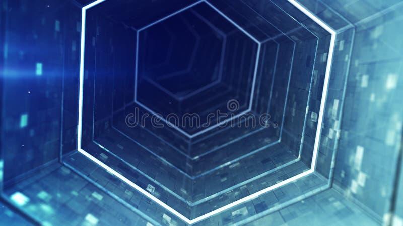 Перевод тоннеля 3D абстрактной технологии голубой иллюстрация вектора