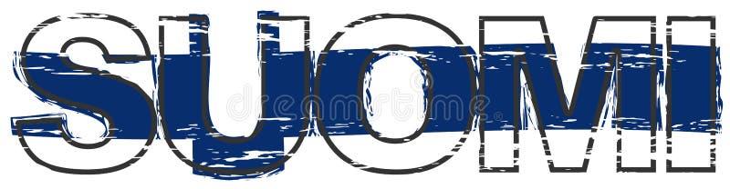 Перевод Финляндии с национальным флагом под им, огорченный взгляд слова SUOMI финский grunge иллюстрация вектора