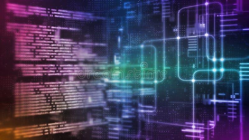 перевод 3D абстрактной технологии цифров Фрагмент сценария программного обеспечения компьютера бинарный кодируя на диаграмме сист иллюстрация вектора