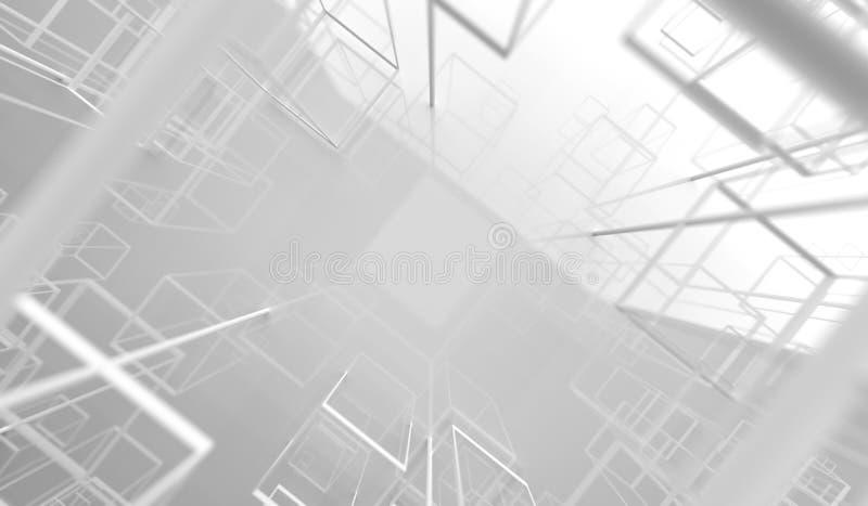 перевод 3D абстрактных лоснистых рамок кубов иллюстрация штока