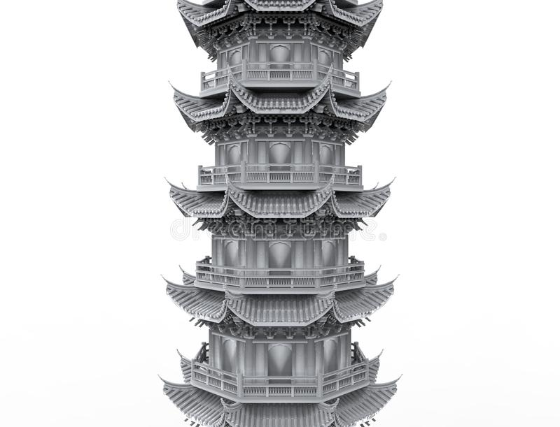 перевод 3d азиатской башни пагоды изолированной в белой предпосылке студии иллюстрация вектора