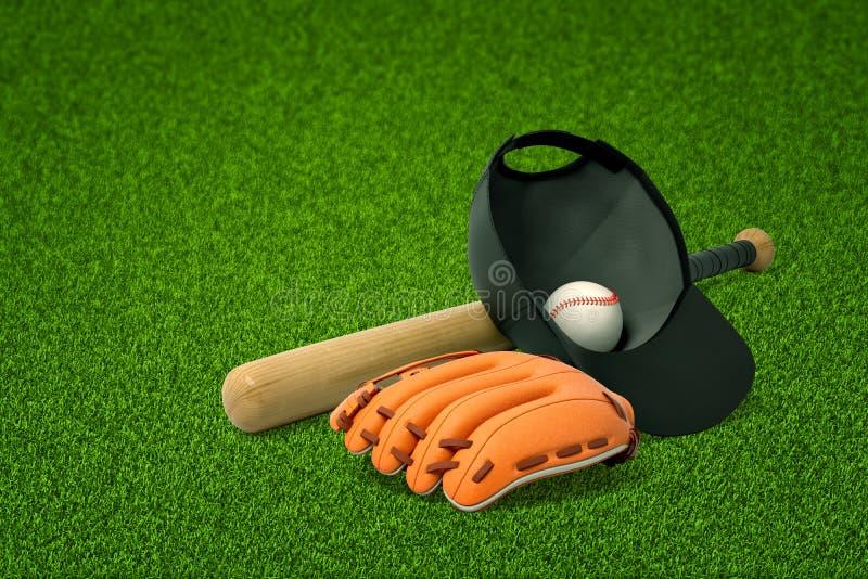 перевод 3d бейсбольной биты, крышки с внутренностью бейсбола, и перчатки бейсбола лежа на свежей зеленой лужайке стоковое фото