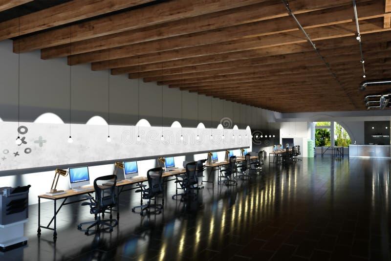 перевод 3d большого промышленного офиса стиля для coworking иллюстрация штока