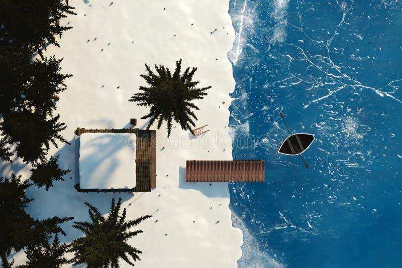 перевод 3d бревенчатой хижины и замороженного озера от взгляд сверху иллюстрация вектора