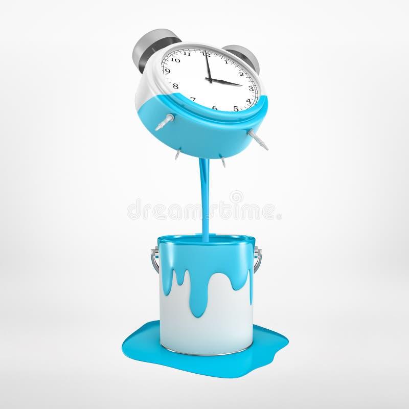 перевод 3d будильника с голубой краской лить в ведро металла на белой предпосылке иллюстрация штока