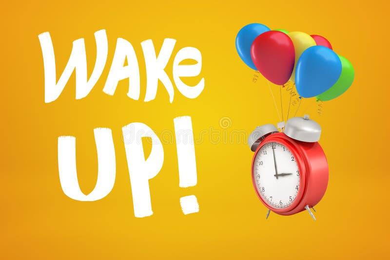 перевод 3d будильника с красочными воздушными шарами и бодрствованием вверх по знаку на желтой предпосылке стоковая фотография rf
