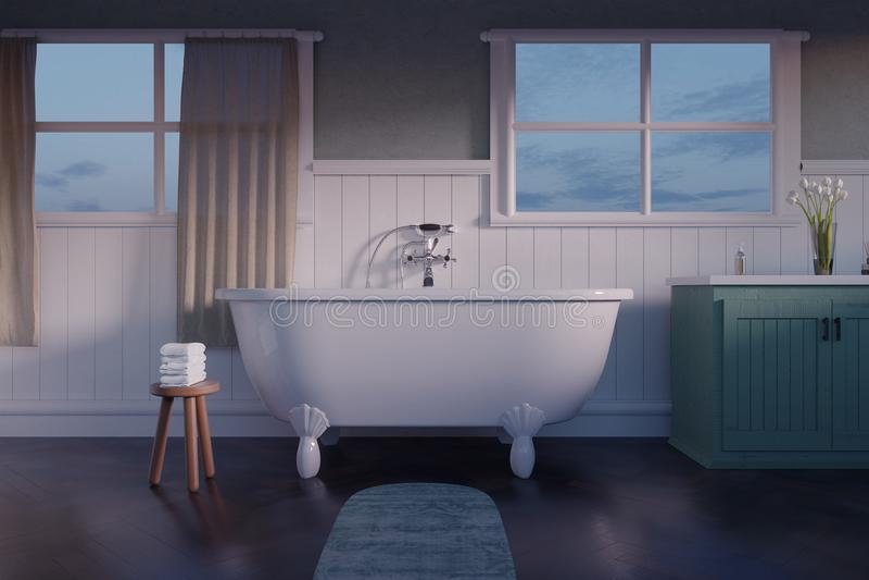 перевод 3d винтажной ванной комнаты с белыми деревянными планками и PA бесплатная иллюстрация