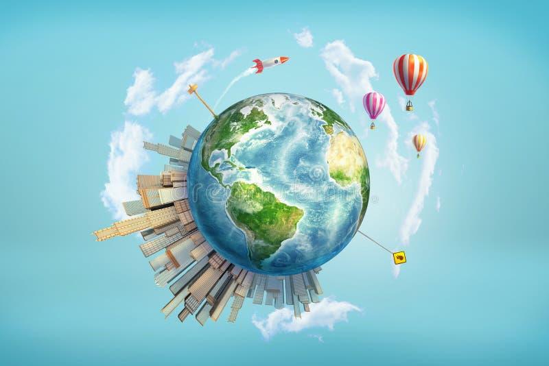 перевод 3d глобуса земли при небоскребы офиса, движение и дорожные знаки стоя на ем, и запускать ракет в иллюстрация штока