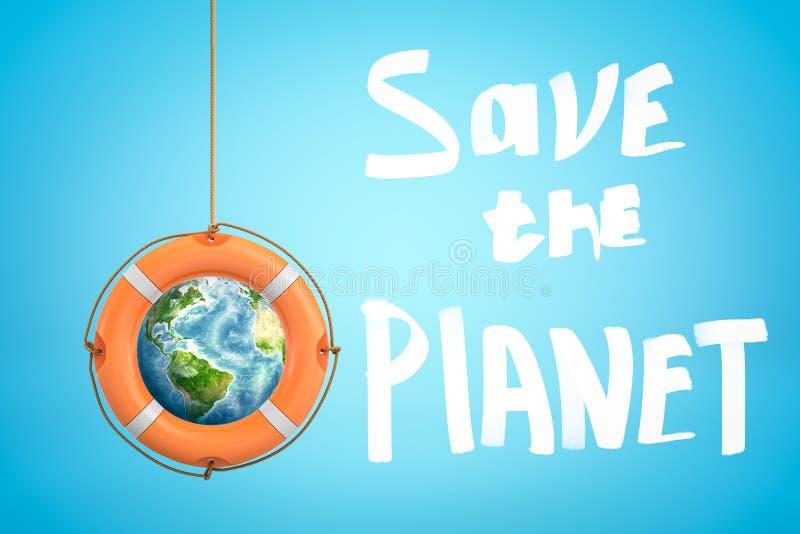 перевод 3d глобуса земли с оранжевой шлюпкой lifebuoy и сохранить знак планеты на голубой предпосылке стоковые изображения
